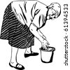 Grandma washes his hands in a bucket - stock vector