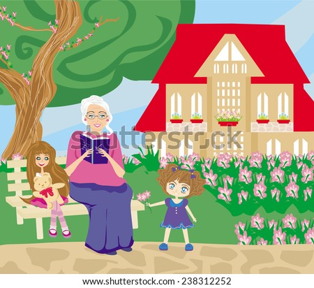 grandmother and granddaughter in the garden - stock vector