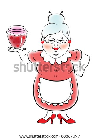 Grandmother holding a jar of jam - stock vector