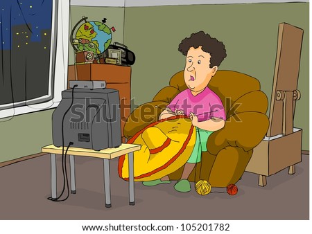 Grandmother knit hat and shocked watching television - stock vector