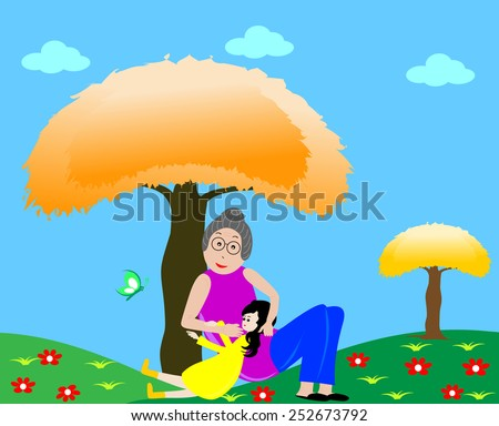 Grandmother with her granddaughter resting under a tree - stock vector