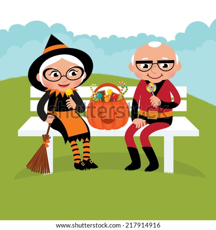 Grandparents dressed in festive costumes celebrate Halloween/Elderly couple celebrating Halloween/Illustration of an elderly couple in Halloween costumes sitting on the bench - stock vector