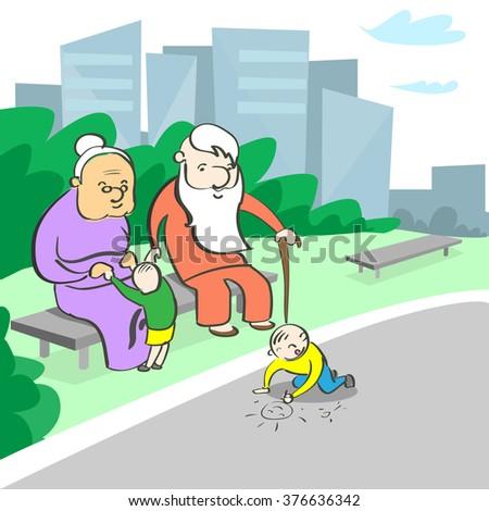 Grandparents Grandmother Grandfather Sitting Grandchild Playing Vector Illustration - stock vector