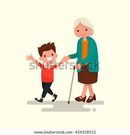 Grandson walking with his grandmother. Vector illustration of a flat design - stock vector