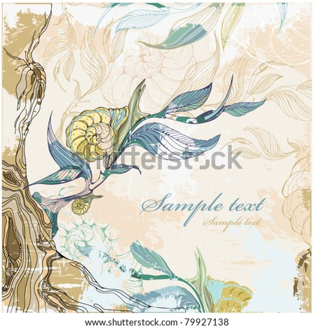 Grange background with a snail - stock vector