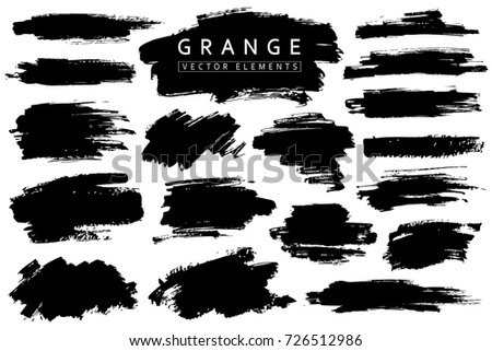 Grange collection. Vector black brush strokes. Place for text.