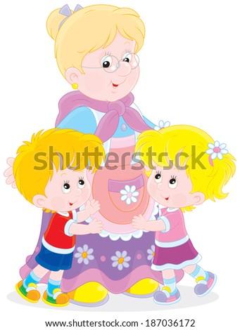 Granny with her grandchildren - stock vector