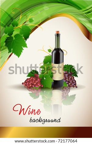 Grape and bottle of wine with reflection, vector - stock vector