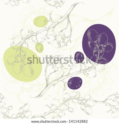 Grape background.Seamless pattern. - stock vector
