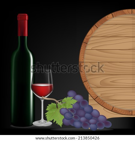 Grape,Bottle wine,Glass wine and wooden barrel isolated on black background,Vector illustration - stock vector