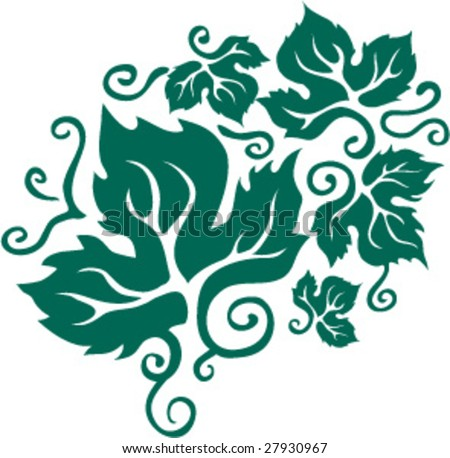 grape leaf - stock vector