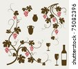 Grape vines, wineglasses and decorative elements set. Vector illustration. - stock vector