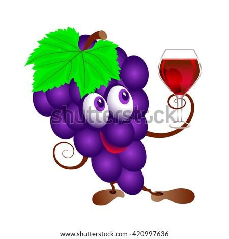 Grapes and  wineglass. Funny cartoon bunch of juicy purple grape fruit character with  wine glass. Isolated. - stock vector