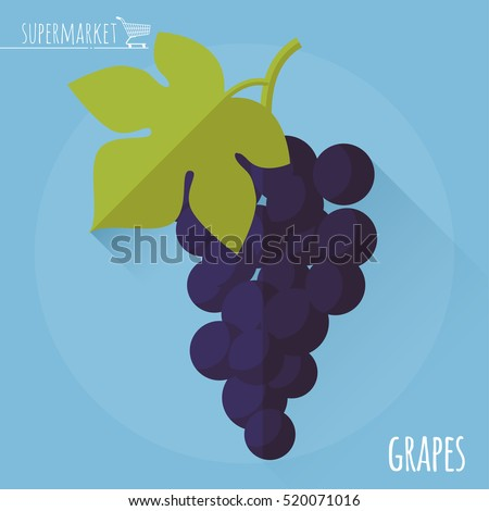 Grapes.  Long shadow flat design vector icon.