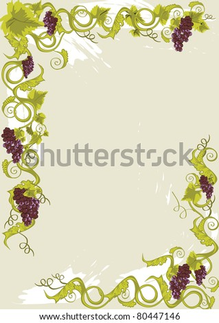 Grapes menu card or frame with vines with leaves. - stock vector