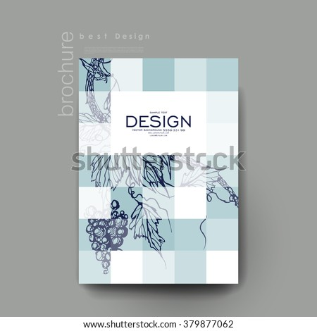 grapes ornament vector brochure template. Flyer Layout. Creative modern design