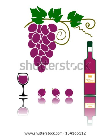 grapes with a bottle of wine and glass - stock vector