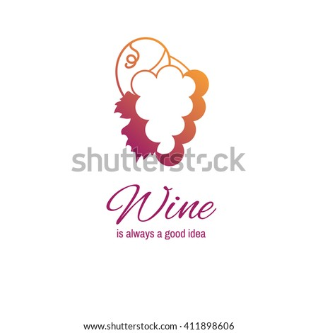 Grapes with leaf vector illustration. Wine logo. - stock vector