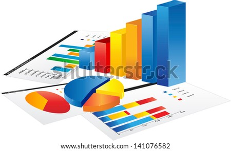 Graph and a paper with statistic charts.