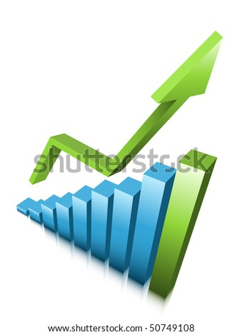 Graph and arrow - stock vector