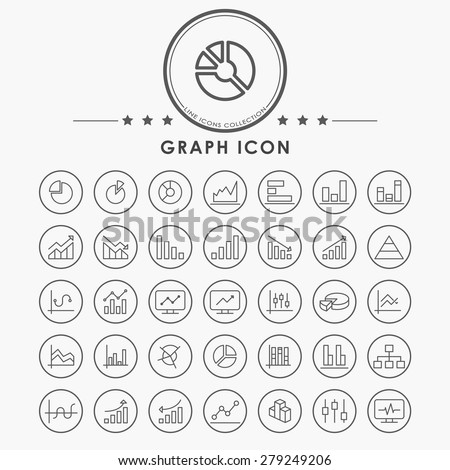 graph and diagram line icons with circle button - stock vector
