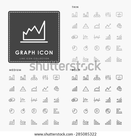 graph and diagram on thin, medium and bold line icons concept - stock vector