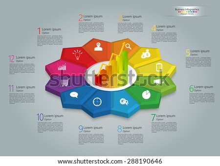 Graph/Chart Icon on Colorful Kite 3D, 12 Steps, Flower Design, Business Icon, Number and Text Informations, Business Infographics Template. Vector Illustration. - stock vector