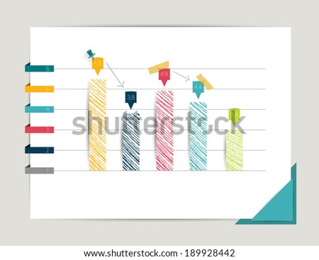Graph, chart. Infographic elements. Flat design. Simply minimalistic concept. Template. - stock vector