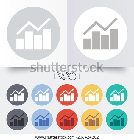 Graph chart sign icon. Diagram symbol. Statistics. Round 12 circle buttons. Shadow. Hand cursor pointer. Vector - stock vector