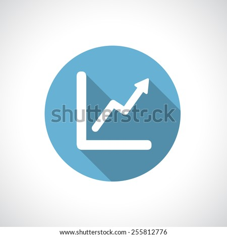 Graph, diagram. White symbol on blue circle with modern round flat icon with shadow. Growth and success concept. - stock vector
