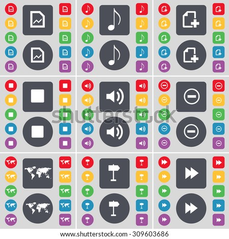 Graph file, Note, File, Media stop, Minus, Globe, Signpost, Rewind icon symbol. A large set of flat, colored buttons for your design. Vector illustration - stock vector