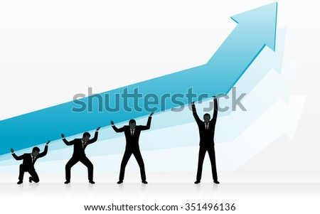 Graph Growth Efforts-Efficient corporate team pushing large arrow growth - stock vector