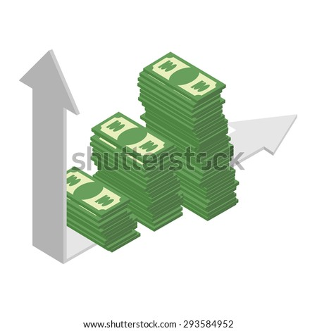 Graph growth income. Sales growth. A bunch of cash. Piles of dollars. Financial earnings. Arrow graph. Wealth. Vector illustration.  - stock vector