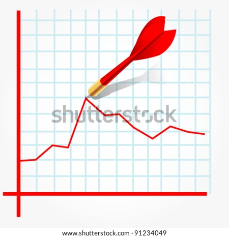 graph hit by red dart - stock vector