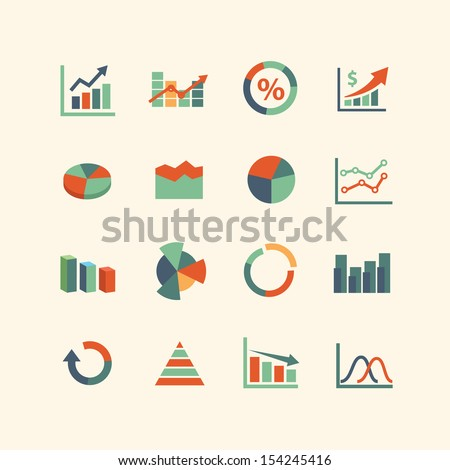 Graph Icon set - stock vector