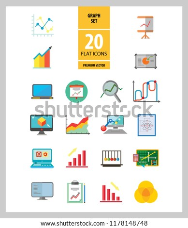 Graph Icon Set Magnifier Graph Growing Stock Vector Royalty Free