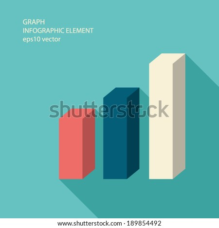Graph infographics element in modern flat design with long shadow for business presentations or reports. Eps10 vector illustration