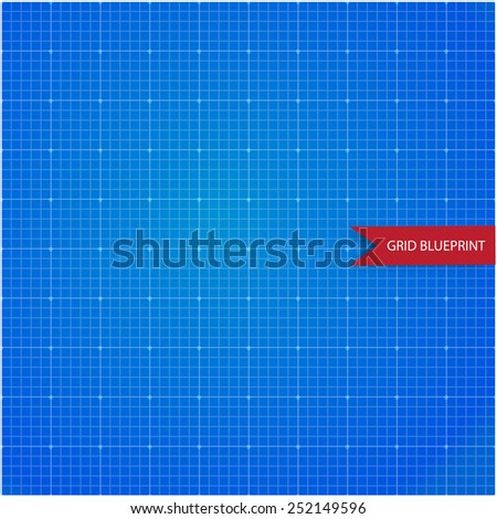 Graph, millimeter paper blueprint - stock vector