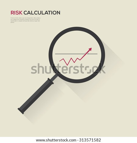 Graph of business successful growth in magnifier. Vector Illustration  - stock vector