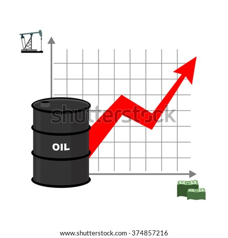 Graph of oil and dollars. Barrel with and bundles of cash. Dependence of amount of from sale. Red arrow is growing up. Rise of crude petroleum in world - stock vector