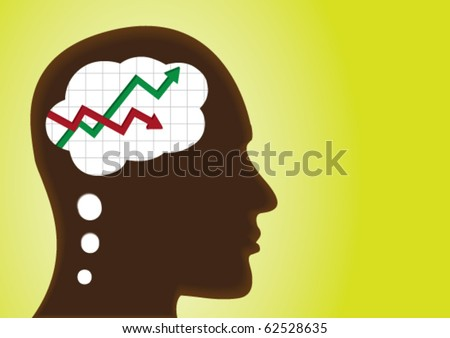 Graph of profit and loss â?? thinking head - stock vector