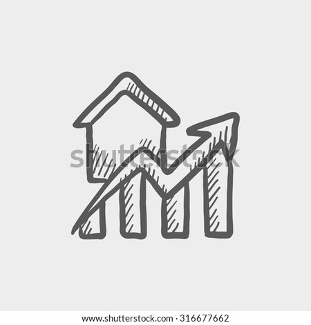 Graph of real estate prices growth sketch icon for web, mobile and infographics. Hand drawn vector dark grey icon isolated on light grey background. - stock vector