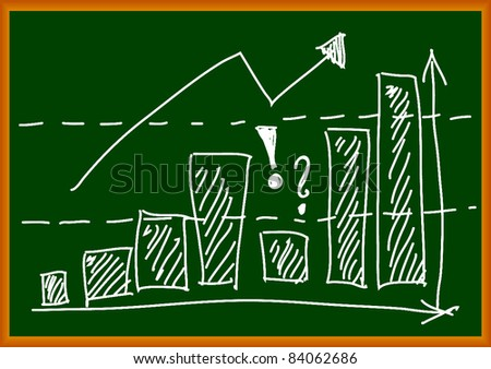Graph on green background - stock vector