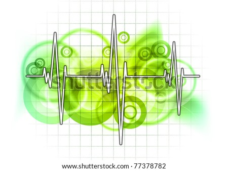 graph on the green grid - stock vector