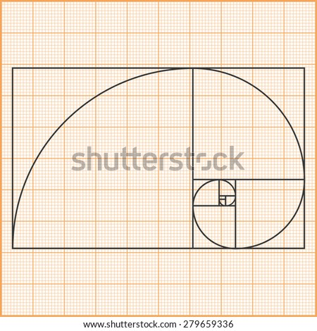 Graph paper with golden ratio, vector eps10 illustration - stock vector