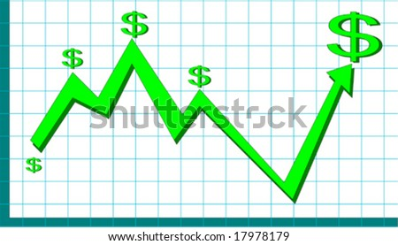 Graph showing up and down of market - stock vector