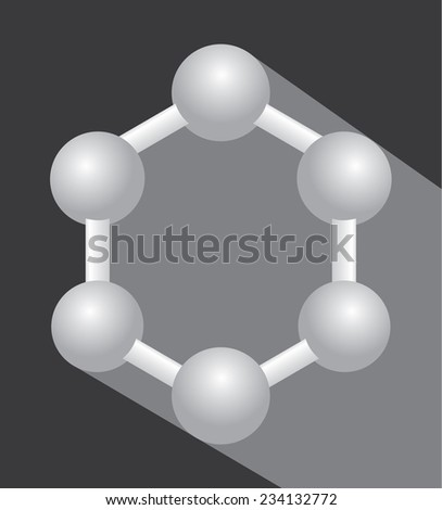Graphene simplified with simple shadow background - stock vector