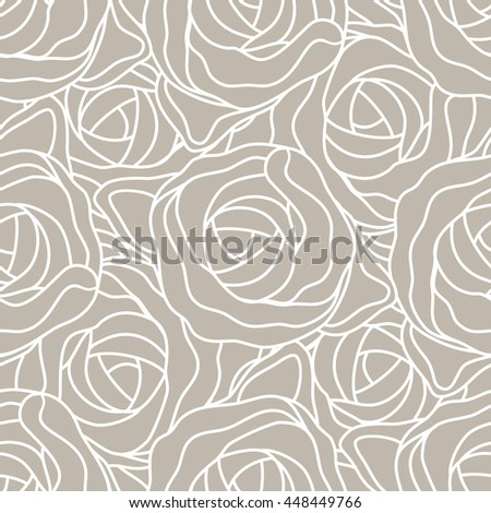 Graphic abstract stylized roses in pastel beige and white colors. Vector seamless modern pattern.