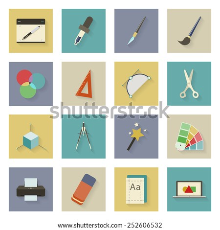 Graphic and design flat icons set vector graphic illustration - stock vector