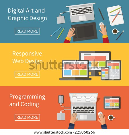 Graphic and Web design, website developing, programming, digital art, coding. Freelance occupation. Flat design vector concept - stock vector